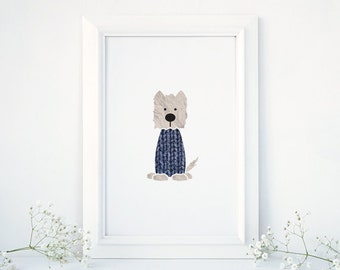 Westie Art Print, Wallace the Westie, West Highland Terrier, Dog Nursery Print, Nursery Decal, Wall Print, Housewarming Gift, Wall Art