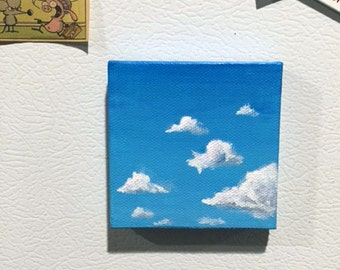 Blue Sky Tiny Canvas Painting, Magnet, Decor, Clouds, 2x2