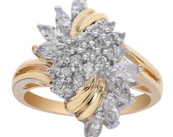 0.75 Carat Diamond Marquise Cluster Twist Ring 14K Two Tone Gold