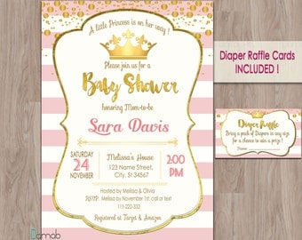 Princess Baby Shower invitation, Pink Baby Shower invitation, Pink and Gold Baby Shower invitation, baby shower invitation princess, royal