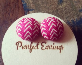 Handmade 15mm pink and white button earrings