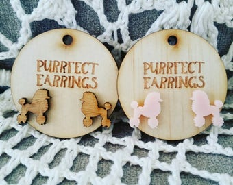 Pink acrylic poodle dog earring studs