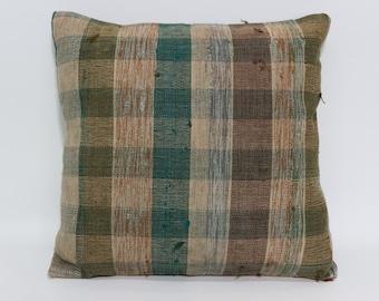 Turkish Striped Kilim Pillow Throw Pillow 20x20 Decorative Cushion Bohemian Kilim Pillow Throw Pillow Bed Pillow  SP5050-1301