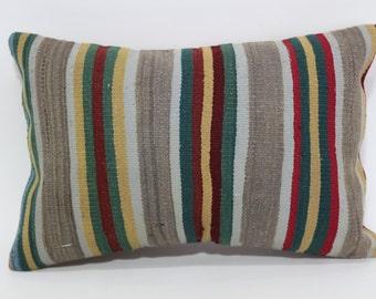 Anatolian Kilim Pillow Throw Pillow 16x24 Decorative Kilim Pillow Handwoven Kilim Pillow Sofa Pillow Fllor Pillow Cushion Cover SP4060-310