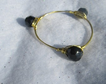 Black Faceted Bead Gold Wire Wrapped Bangle Bracelet