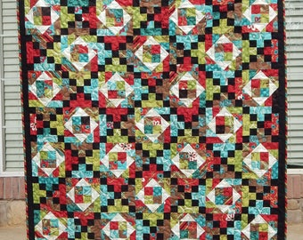 Modern Lap Quilt, Black and Red Quilt, Blue, Green, Handmade Quilt, Homemade Blanket, Throw