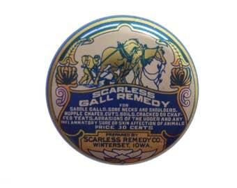 Vintage Scarless Gall Remedy TIN Horse Medicine