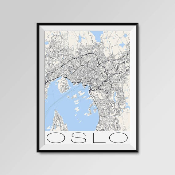 Oslo norway map oslo city map print oslo map poster oslo like this item sciox Gallery
