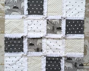 Bear Lovey - Minky Security Blanket - Baby Rag Quilt Lovey - Baby Shower Gift - Baby Boy Gift - Gray Black White Mini Blanket