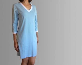 Ibiza Winter Organic Cotton Nightie in Blue.  Women's Sleepwear and Loungewear made in Australia.