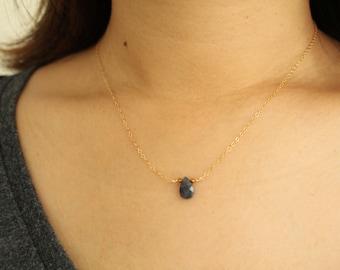 Gemstone Necklace, Teardrop Necklace, Iolite Necklace, Simple Necklace, Gold Necklace, Gold Filled Necklace