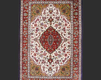 QUM Persian silk rug  6.8 x 4.5 ft / 203 x 135 cm vintage carpet Boho Style