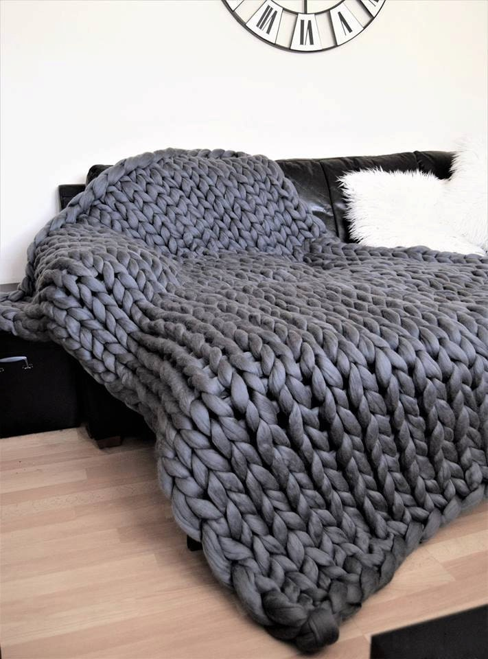 Chunky Knitted Blanket Throw Blanket Natural Merino Wool