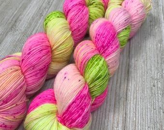 MelonWatermelon - Sweet Sock - Indie Sock Yarn, Indie Dyed Yarn, Speckled Sock Yarn, Hand Dyed Yarn, Neon Sock Yarn, Indie Speckled Yarn