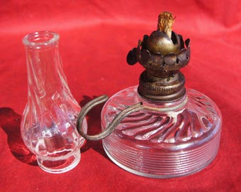 Late 1800's Miniature Clear Glass Kerosene FINGER LAMP with ORIGINAL Chimney and Working Burner with Wick