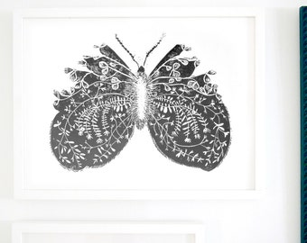 ART PRINT.  Butterfly / / flowers and leaves. LINOCUT