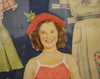 "Framed ""Shirley Temple"" Paper Doll (c. 1930s)"