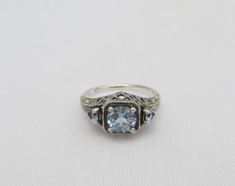 Vintage Sterling Silver Aquamarine Three Stone Filigree Ring Size 7
