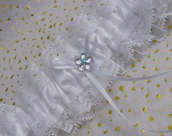 Simple White Wedding Garter With Single Crystal Flower One Size/ Plus size beautifully hand made in England!
