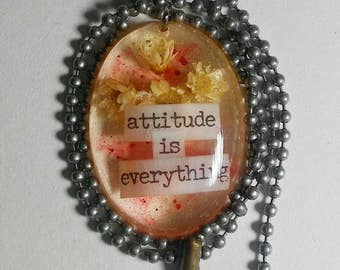 Attitude is everything affirmation resin necklace