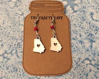 State of Georgia Earrings, State Jewelry, Beaded Earrings, Dangle Earrings
