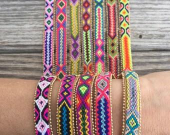 OOAK handmade friendship bracelet in vibrant colors with small tassel