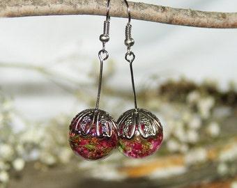 Floral Earrings, Dangle Earrings, Bohemian Earrings, Flower Earrings, Cyclamen Jewelry, Resin Earrings, Resin Jewelry, Rustic Earrings