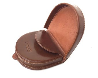 Mens Quality Tan Leather Horseshoe Coin Tray Purses 2017 Model