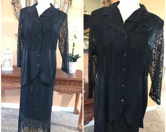 Elegant 2 Piece Lace Suit Vintage Skirt with long Shirt  Fringe Dress Size M mother of the Bride Cocktail Dress Day or Night Suit