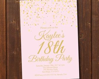 18th Birthday Invitation/Printable Gold & Pink Birthday Invitation/e-card invitation/Template/Birthday Invitation/eighteenth birthday
