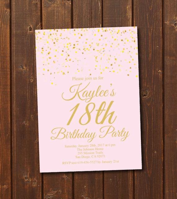 18th Birthday Invitation/Printable Gold & Pink Birthday