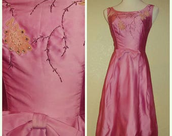 Fun Vintage Bubblegum Pink Beaded Dress