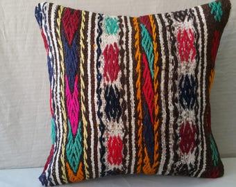 "Kilim Pillow,16""×16""İnches, Decorative Kilim Pillow, Cushion Cover, Throw Pillow, Tribal Pillow, Turkish Kilim Pillow, Pillow Cover, Decor"