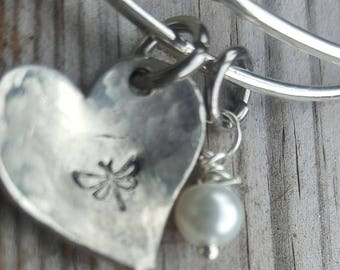 Dragonfly bracelet // Adjustable Bangle with heart stamped w/dragonfly//Gift for her //Nice Gift for Mom .