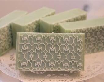 White Tea & Ginger Lace Soap Loaf 1.5lb, Goat Milk Soap Loaf, Handmade Soap Loaf, Mint Green Decorative Soap Loaf, Moisturizing Soap Bar