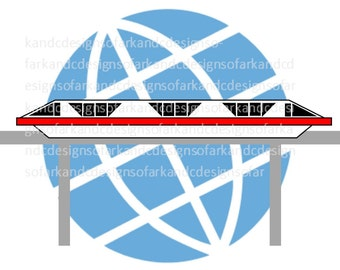 Monorail Epcot Graphic, SVG, PNG, JPG
