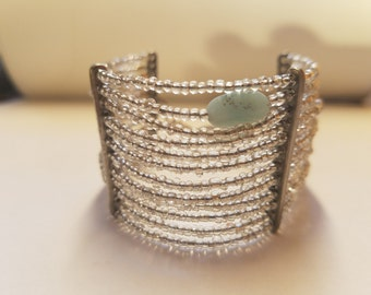 Multi-strand beaded cuff