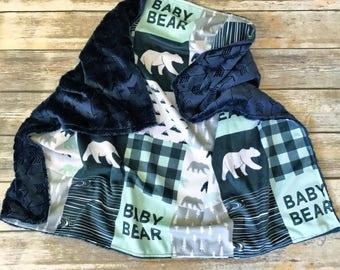 Baby Bear Minky Blanket- Navy Baby Boy Bedding- Baby Blanket- Woodland Nursery Blanket- Baby Boy- Baby Bear Blanket- Baby Boy Blanket
