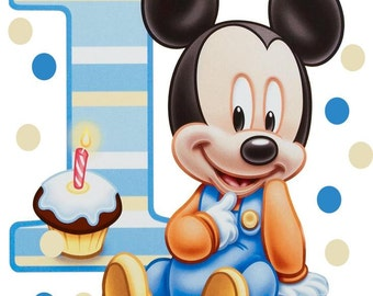 Baby Mickey Mouse 1st Birthday Iron On Transfer or Shirt