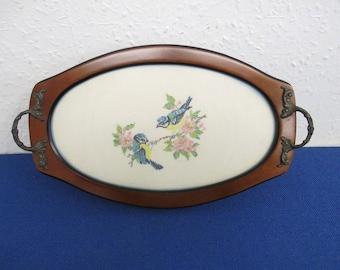 Decorative Small Tray, Cross Stitch Birds & Flowers Inlaid in Base - Handmade