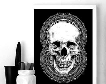 DEATH BLOOMS - Art Print - Human Skull Mandala Intricate Illustration - Pattern - Dotwork Linedrawing - Dark Art - Tattoo - Blackwork
