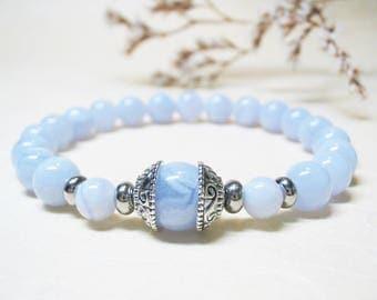 Blue Lace Agate Bracelet Gemstone Bracelet Mens Bracelet Throat Chakra Bracelet 8 mm Blue Lace Agate Bracelet Healing Crystal Mala Bracelet