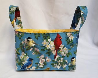 Cardinal with Flowers Quilted Fabric Bin/Basket