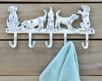 Shabby Chic 5 Playful Dogs Wall Hook, Dog Leash, Coat Hooks