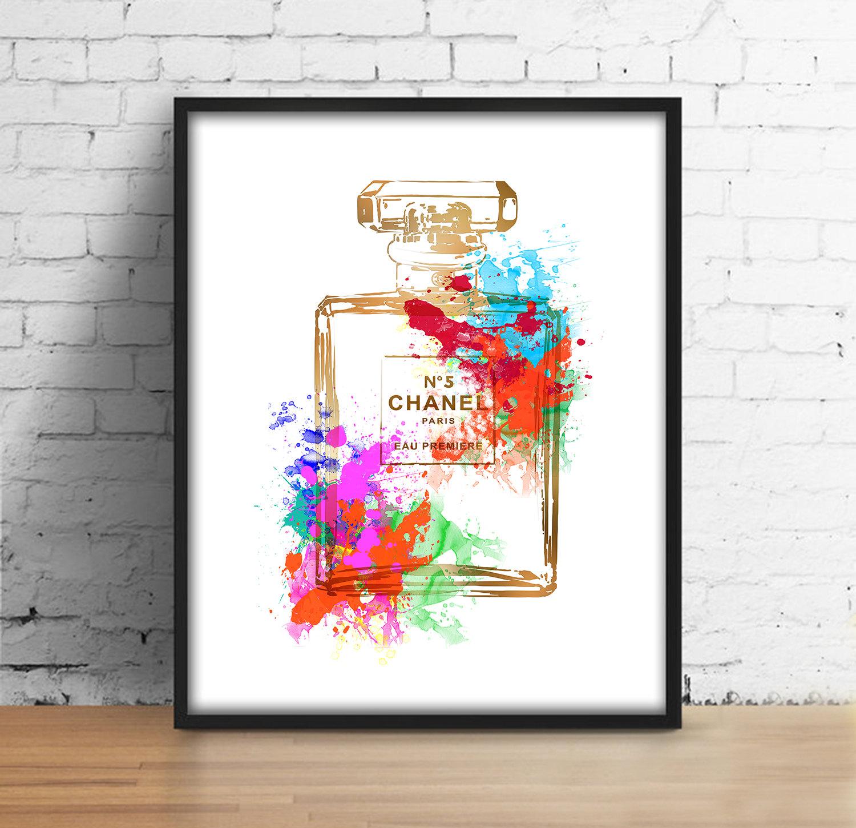 Coco Chanel bottle print Chanel perfume 5 gold digital print