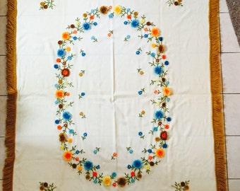 Vintage Wool Blanket / Crewel Embroidery / Wool Yarn / Fringe Blanket / Mid Century Wool Throw / Hand Embroidered  /