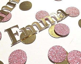 Custom gold foil and glitter blush pink confetti.  Girl Birthday confetti.  Gold and pink party decorations.   Custom party supplies.