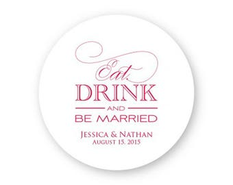 Eat, Drink and Be Married Coasters - Wedding Coasters - AA1001404