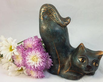 Vintage 70's La Coleccion Moon Hand Sculpted and Painted Blue and Gold Leaf Cat