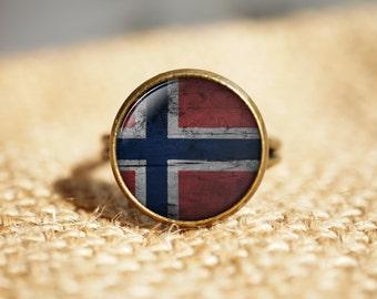 Norwegian flag ring, Norway ring, flag ring, national symbolic, patriotic gift for men and women